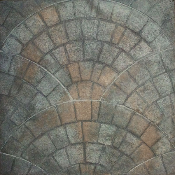 burnt umber provides depth when you opt for a cobblestone pattern in stamped concrete