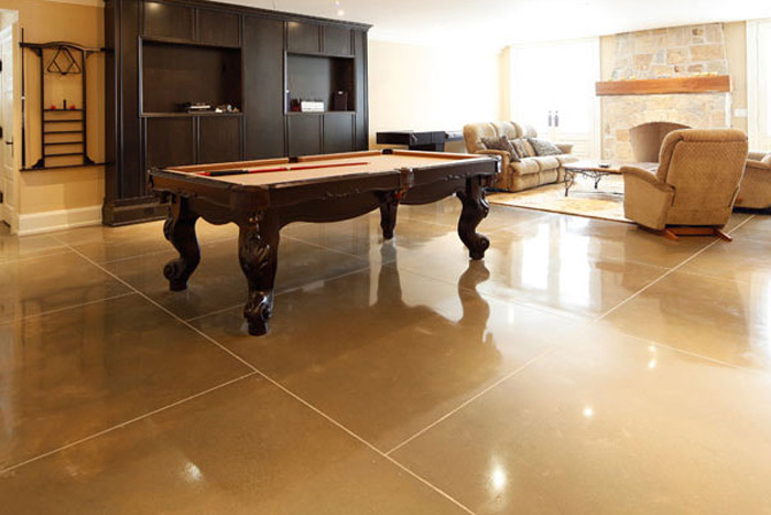 polished cement is a great indoor surface especially with new heating systems