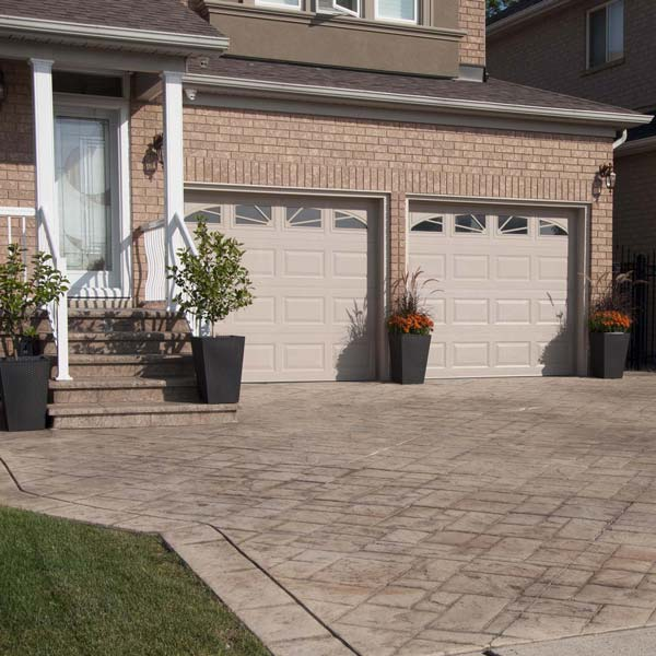 geometric patterns with the look of natural stone can be fashioned in stamped concrete