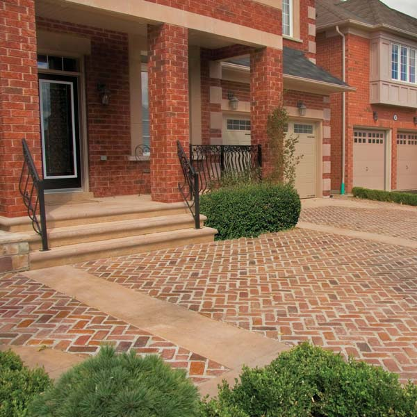a herringbone pattern with brick appearance for a driveway