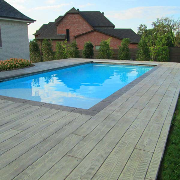 stamped concrete can even make for the look of a wood plank deck