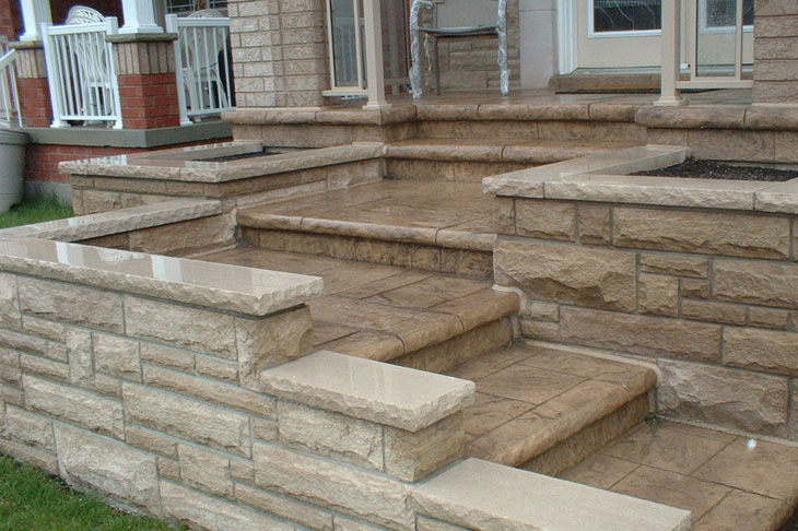 decorative concrete overlay on the front steps
