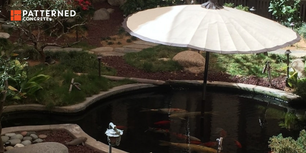 build a koi pond in your own backyard and complement it with stamped concrete