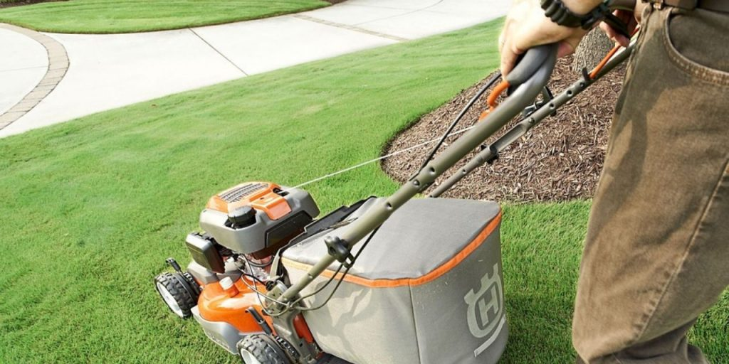 mow carefully near concrete edges and use a trimmer where necessary