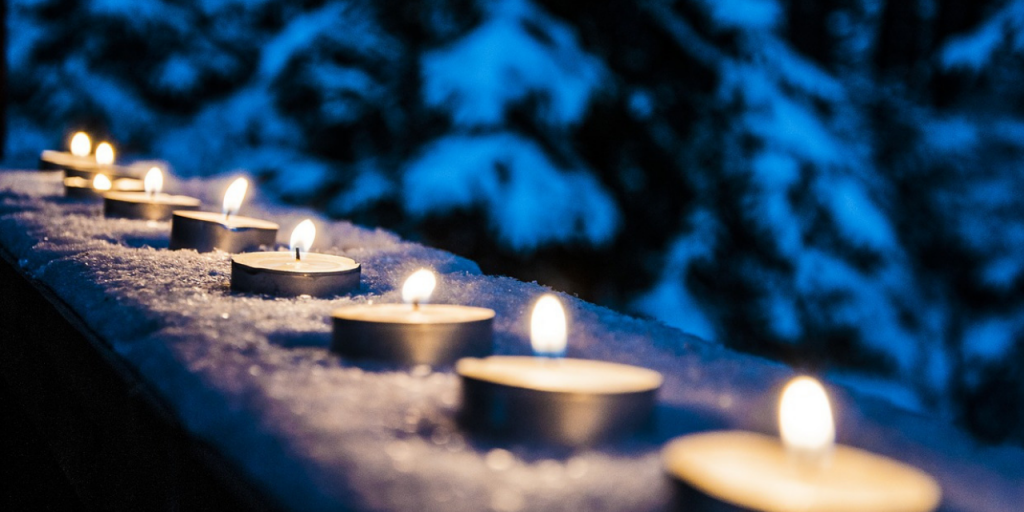 candles are a good option for gentle outdoor lighting